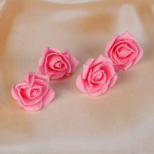 Набор цветков-бантов из фоамирана,  D=5 см, 4 шт,  розовый 3041609