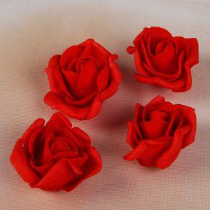 Набор цветков-бантов из фоамирана,  D=5 см, 4 шт, красный 2946026