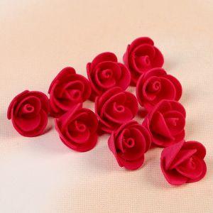 """Набор цветов для  декора """"Роза"""", из фоамирана, D=2 см, 10 шт, красный 2946020"""