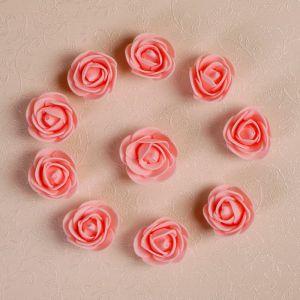 Набор цветов для декора из фоамирана, D=3 см, 10 шт,  персиковый 2976280