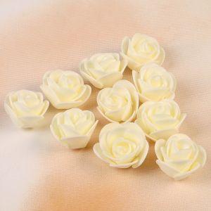 Набор цветов для декора из фоамирана, D=3 см, 10 шт, бежевый 2976278