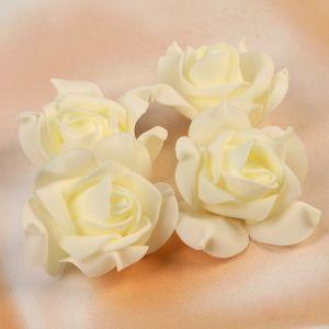 Набор цветов для декора из фоамирана, D=7,5 см, 4 шт, бежевый 2976283
