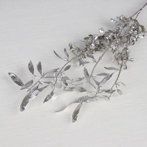 """Цветы искусственные блеск """"Цветущая ветвь"""" 30 см, серебро   3543956"""