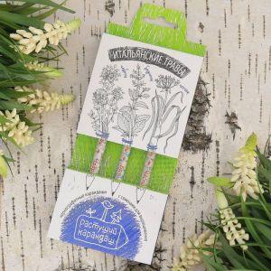 """Растущие карандаши """"Итальянские травы"""" набор 3 шт. черные 2703607"""