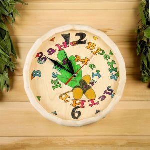 """Часы банные бочонок """"В бане время летит незаметно"""" 1424909"""