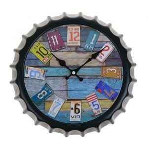 Часы настенные «Бутылочная крышка», круглые, номера авто, чёрные, d=30 см 2307008