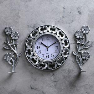 """Часы настенные, серия: Интерьер, """"Гафете"""", d=25 см, серебристые, 60х31 см 3244728"""