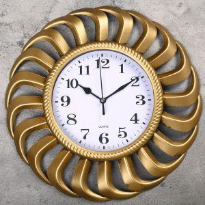 """Часы настенные, серия: Интерьер, """"Клеома"""", золотые, d = 34 см 2457672"""
