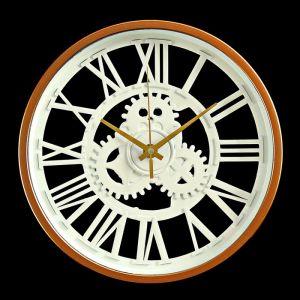 """Часы настенные, серия: Интерьер, """"Шестеренки"""", белые с бронзой, d=24 3620900"""
