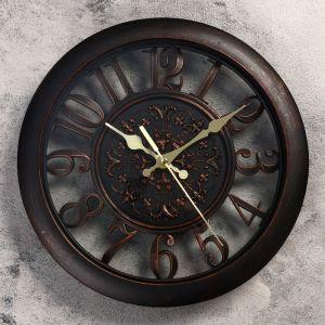 """Часы настенные, серия: Классика, """"Пиктон"""", круглые, цифры по кайме, чёрные, d=28 см 2307001"""