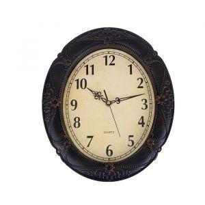 Часы настенные овальные Old-fashioned, d=31 см, тёмно-коричневые, под металл, с узором