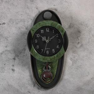 "Часы настенные, серия: Маятник, ""Кандо"", 17.5х35 см, зеленые 1205549"