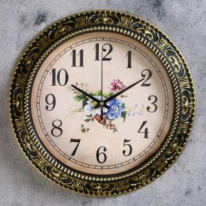 """Часы настенные, серия: Цветы, """"Изящный букет"""" d=30 см,  дискретный ход, рисунок микс  2334885"""