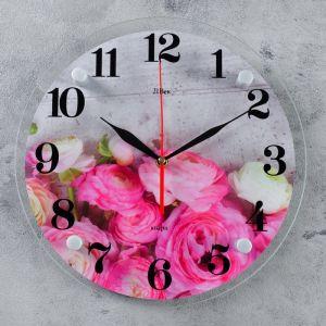 """Часы настенные, серия: Цветы, """"Розовые пионы"""", 30 см 4551230"""