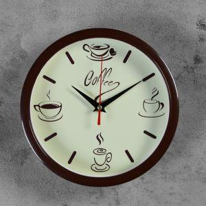"""Часы настенные круглые """"Coffee"""", обод коричневый, 22х22 см 2976089"""