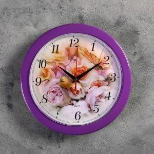 """Часы настенные круглые""""Розы"""", фиолетовый обод, 23х23 см Рубин 2643196"""