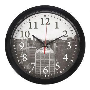 "Часы настенные ""Город"", чёрный обод, 28х28 см"