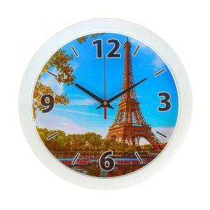 """Часы настенные """"Эйфелева башня"""", белый обод, 28х28 см"""