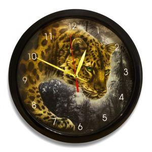 """Часы настенные, серия: Животный мир, """"Ягуар"""", чёрный обод, 28х28 см 2436385"""