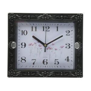 """Часы настенные, серия: Классика, """"Брилл"""", чёрные, сюжетные, микс, 21х18 см, дискретный ход, 2457673"""