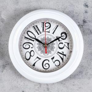 """Часы настенные, серия: Классика, """"Снежинка"""", белый обод, 22х22 см, микс 2633464"""
