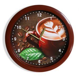 """Часы настенные """"Кофе"""", коричневый обод, 28х28 см 2436377"""