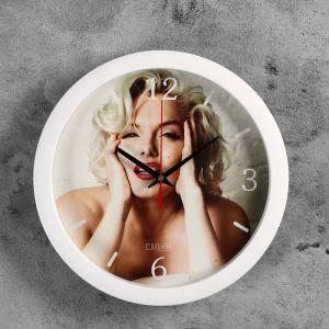 """Часы настенные, серия: Люди, """"Мерлин Монро"""", белый обод, 28х28 см 2436424"""