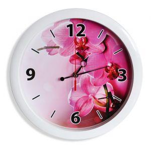 """Часы настенные """"Орхидеи"""", белый обод, 28х28 см"""