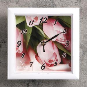 """Часы настенные квадратные """"Тюльпаны"""""""