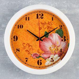 """Часы настенные, серия: Цветы, """"Цветки"""", белый  обод, 28х28 см  4573713"""