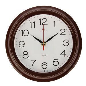 "Часы настенные ""Классика"", ""Рубин"", коричн. обод  21х21 см 2566718"