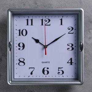 Часы настенные квадратные Steel, 23 ? 23 см, рама серая, 2 держателя хром