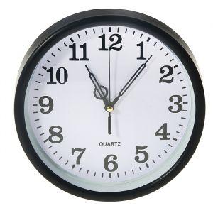 Часы настенные круглые Raul, d=18 см, циферблат белый, рама чёрная, часовая стрелка c кружком