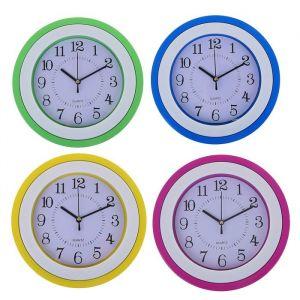 Часы настенные, серия: Классика, круглые, рама белая вставка, микс, d=22.5 см 1208442
