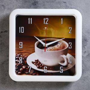 """Часы настенные квадратные """"Чашка кофе"""", 30х30 см (рубин) 2421818"""
