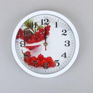 """Часы настенные кухонные """"Красная смородина"""", d=22 см, рама белая"""