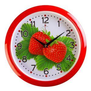 """Часы настенные круглые """"Клубника"""", 30х30 см красный обод  Рубин микс 2474429"""