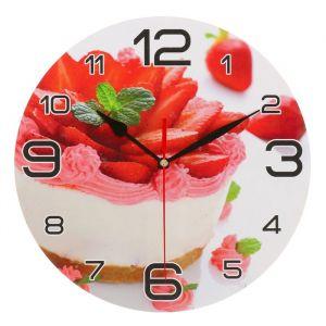 """Часы настенные круглые """"Клубничный торт"""", 24 см 3571414"""