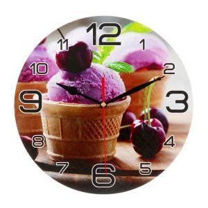 """Часы настенные круглые """"Мороженое и черешня"""", 24 см микс 3571427"""