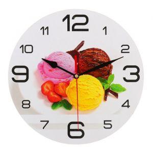 """Часы настенные круглые """"Мороженое с клубникой"""", 24 см микс  3571464"""