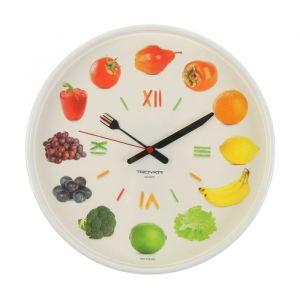"""Часы настенные круглые """"Овощи и фрукты"""", белый обод, 30х30 см , микс   2584174"""