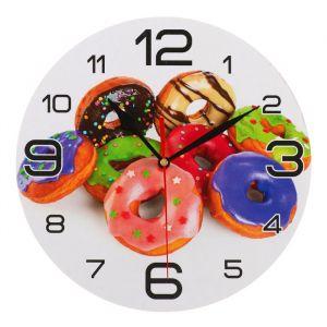 """Часы настенные круглые """"Пончики"""", 24 см  микс 3571456"""
