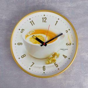 """Часы настенные круглые """"Чай с лимоном"""", золотистый обод, 30х30 см  микс  2584182"""