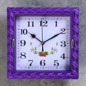 """Часы настенные, серия: Интерьер, """"Земляничка"""", рама микс,  22х22 см, дискретный ход, 1195102"""