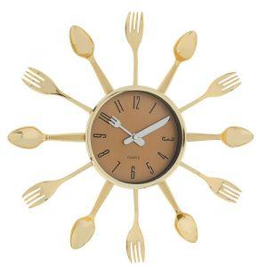 """Часы настенные, серия: Кухня, """"Вилки, ложки, поварешки"""", золото, d=33 см 1249678"""