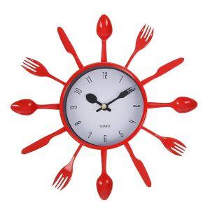 """Часы настенные, серия: Кухня, """"Вилки, ложки, поварешки"""", красные, плавный ход,  микс 1588327"""