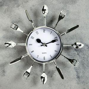 """Часы настенные, серия: Кухня, """"Вилки, ложки, поварешки"""", хром, белый циферблат, d=25 см 831075"""