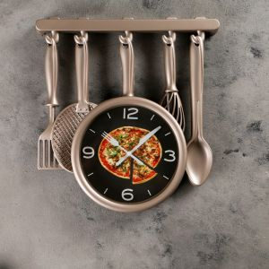 "Часы настенные, серия: Кухня, ""Кухонная утварь"", бронзовые, 32х34 см, плавный ход 3096871"