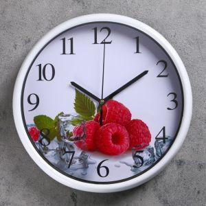 """Часы настенные, серия: Кухня, """"Малина"""" d=24.5 см, дискретный ход   4620781"""