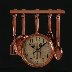 """Часы настенные, серия: Кухня, """"Столовые приборы"""", бронза, 30 ? 33 см 3620919"""